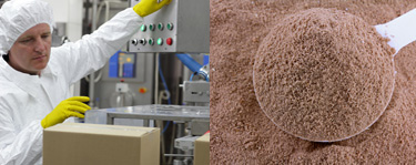 Person working in a factory and a scoop of powder supplements